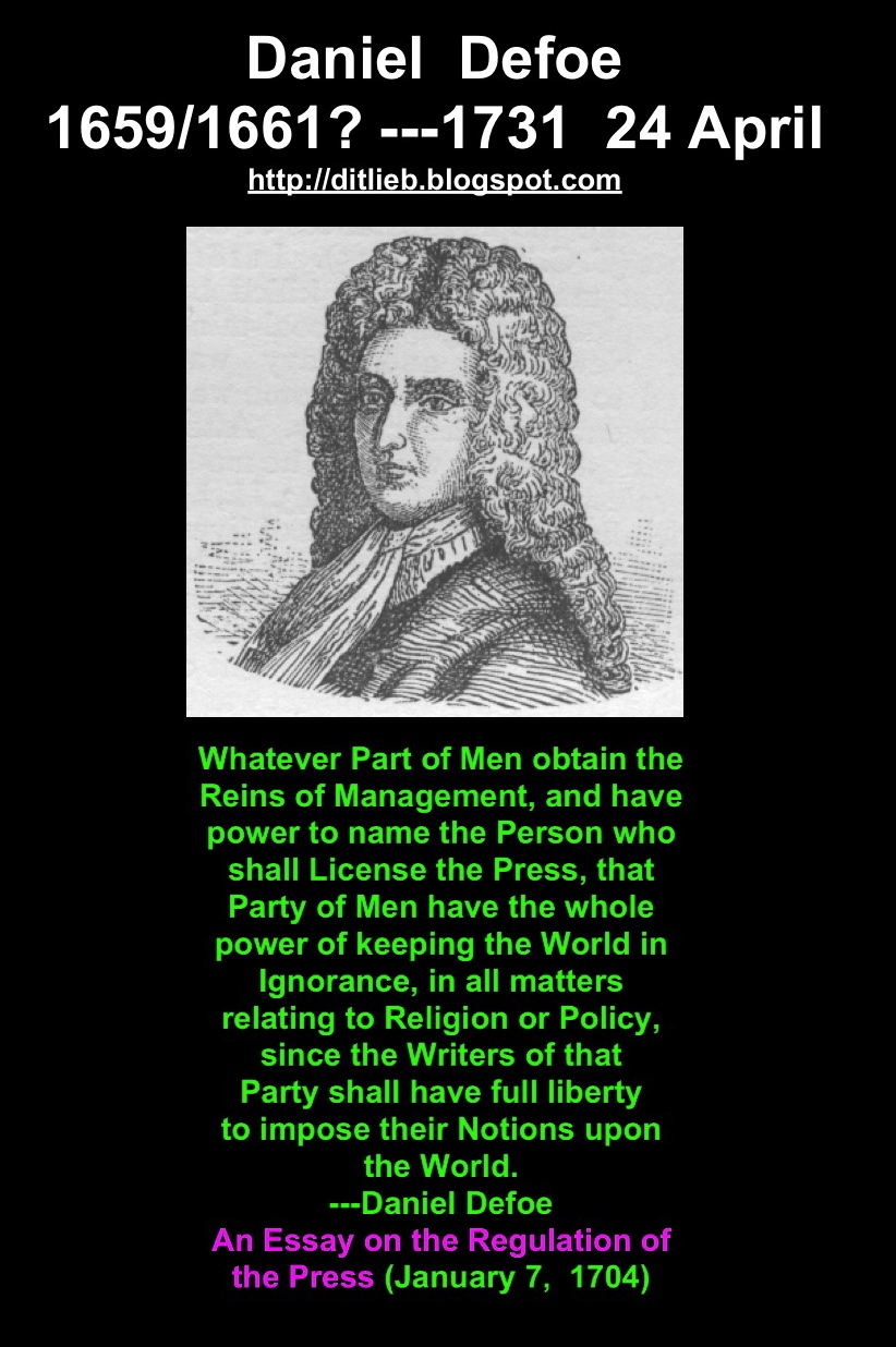 daniel defoe essay Essay on daniel defoe and robinson crusoe - daniel defoe was an extraordinary man although he never had the benefit of a university education, he spoke six languages and was able to read even.