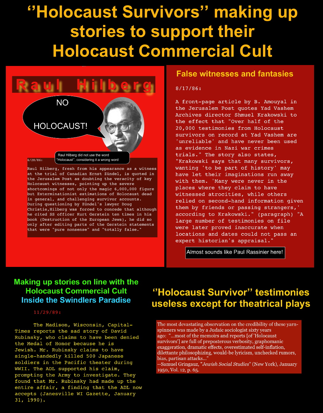 Holocaust Survivor\' commerce and their drive for Mythomania ...